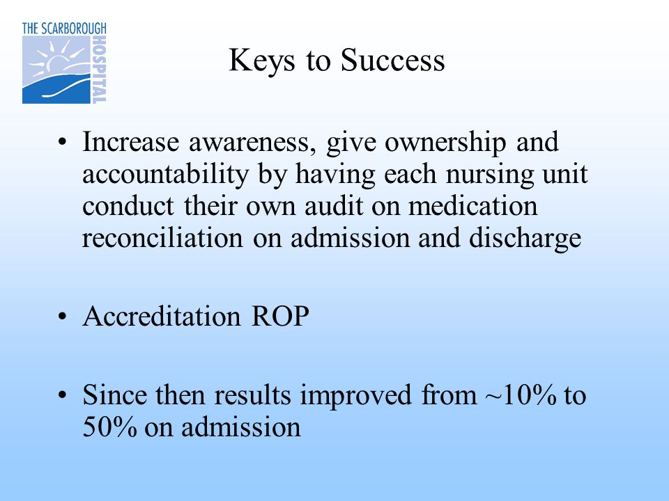 Keys to Success Increase awareness, give ownership and accountability by having each nursing unit conduct their own audit on medication reconciliation on admission and discharge Accreditation ROP Since then results improved from ~10% to 50% on admission