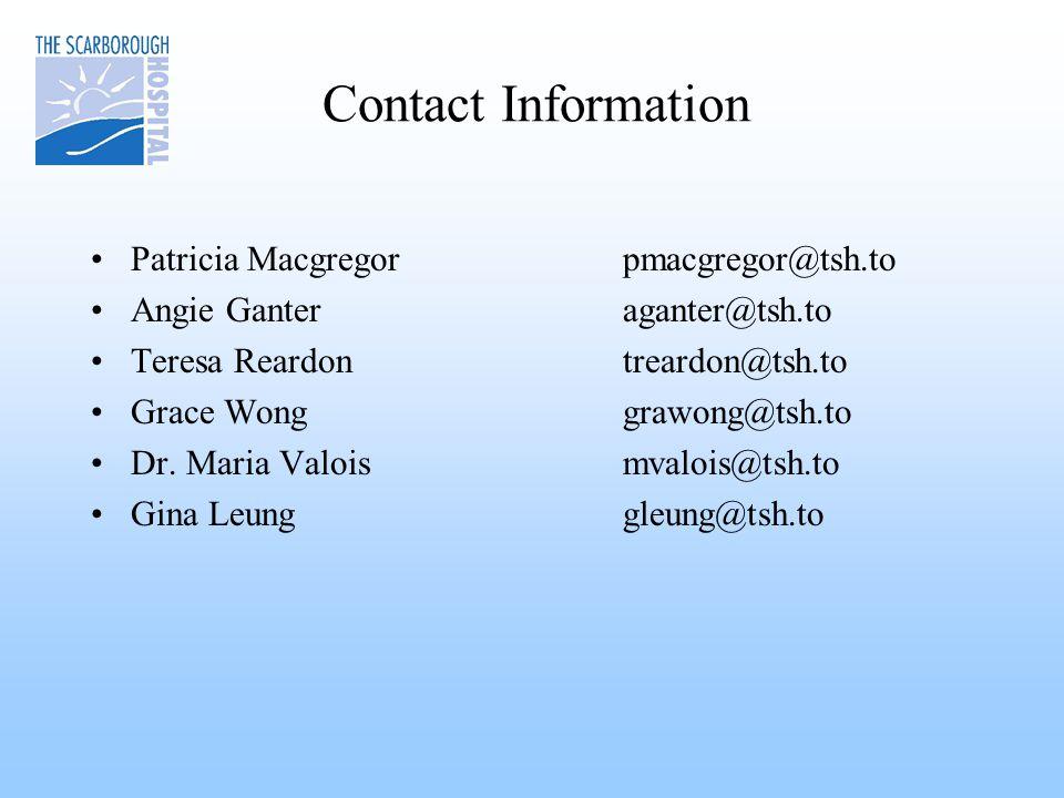Contact Information Patricia Macgregor pmacgregor@tsh.to Angie Ganteraganter@tsh.to Teresa Reardontreardon@tsh.to Grace Wonggrawong@tsh.to Dr.