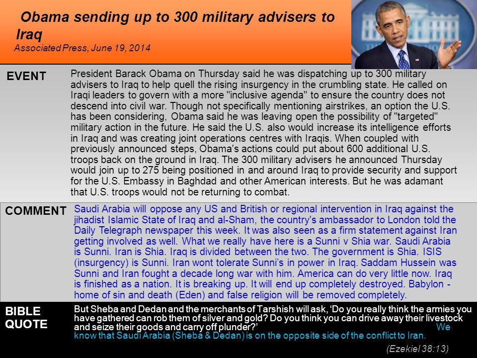 Obama sending up to 300 military advisers to Iraq President Barack Obama on Thursday said he was dispatching up to 300 military advisers to Iraq to help quell the rising insurgency in the crumbling state.