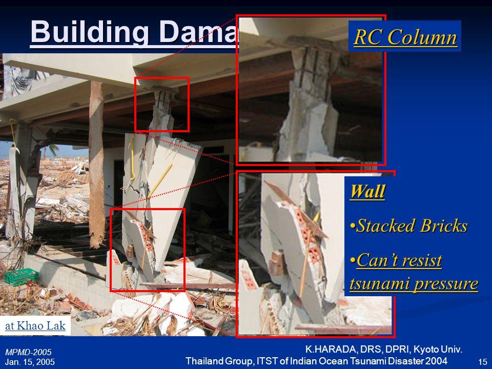 MPMD-2005 Jan. 15, 2005 K.HARADA, DRS, DPRI, Kyoto Univ. Thailand Group, ITST of Indian Ocean Tsunami Disaster 2004 15 Building Damage RC Column Wall