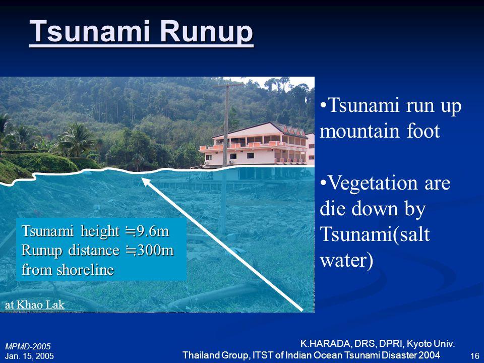 MPMD-2005 Jan. 15, 2005 K.HARADA, DRS, DPRI, Kyoto Univ. Thailand Group, ITST of Indian Ocean Tsunami Disaster 2004 16 Tsunami Runup Tsunami run up mo