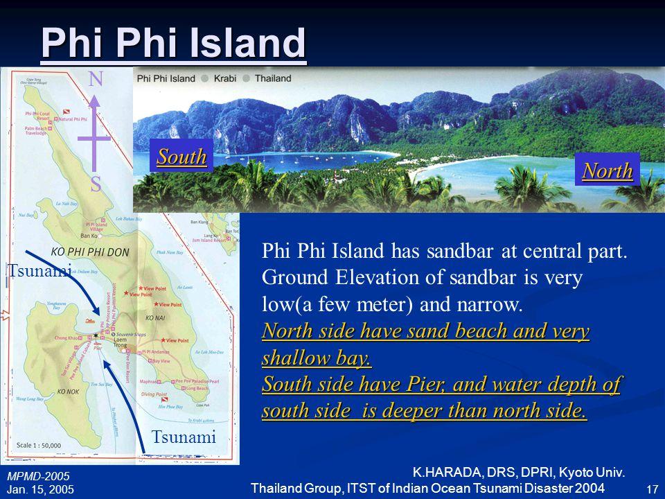 MPMD-2005 Jan. 15, 2005 K.HARADA, DRS, DPRI, Kyoto Univ. Thailand Group, ITST of Indian Ocean Tsunami Disaster 2004 17 Phi Phi Island N S Phi Phi Isla
