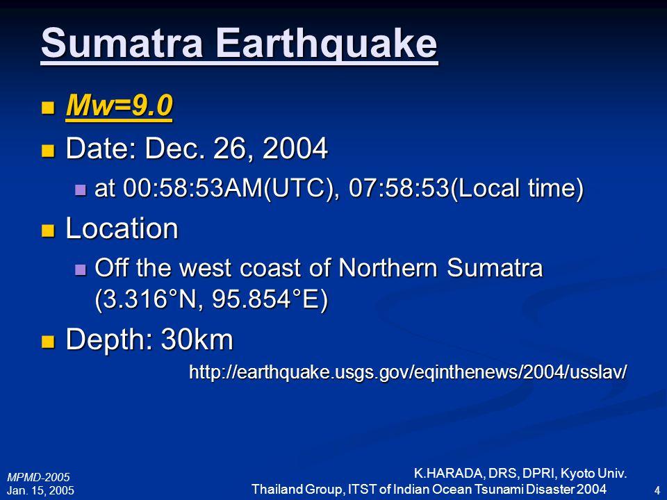 MPMD-2005 Jan. 15, 2005 K.HARADA, DRS, DPRI, Kyoto Univ. Thailand Group, ITST of Indian Ocean Tsunami Disaster 2004 4 Sumatra Earthquake Mw=9.0 Mw=9.0