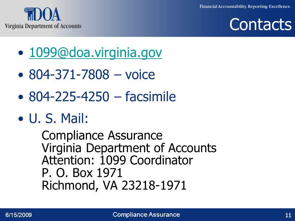 6/15/2009 Compliance Assurance Contacts 1099@doa.virginia.gov 804-371-7808 – voice 804-225-4250 – facsimile U.