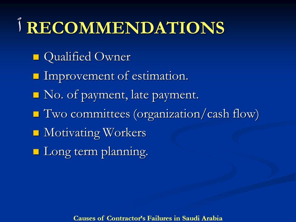 ٱ RECOMMENDATIONS Qualified Owner Improvement of estimation.