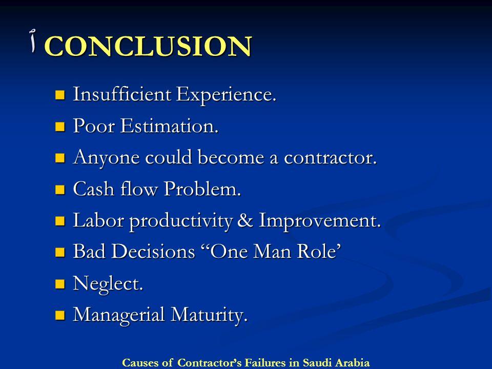 ٱ CONCLUSION Insufficient Experience. Poor Estimation.