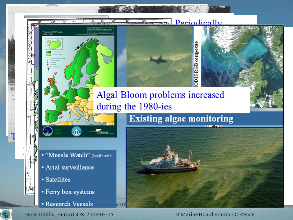 Hans Dahlin, EuroGOOS, 2008-05-151st Marine Board Forum, Oostende Shipping and tide – hundreds of years The disappering water – Water level monitoring 1731 Need and exchange of loggbook information – origin of WMO Periodically disappering herring – initiated ICES and operational monitoring programmes, 1903.