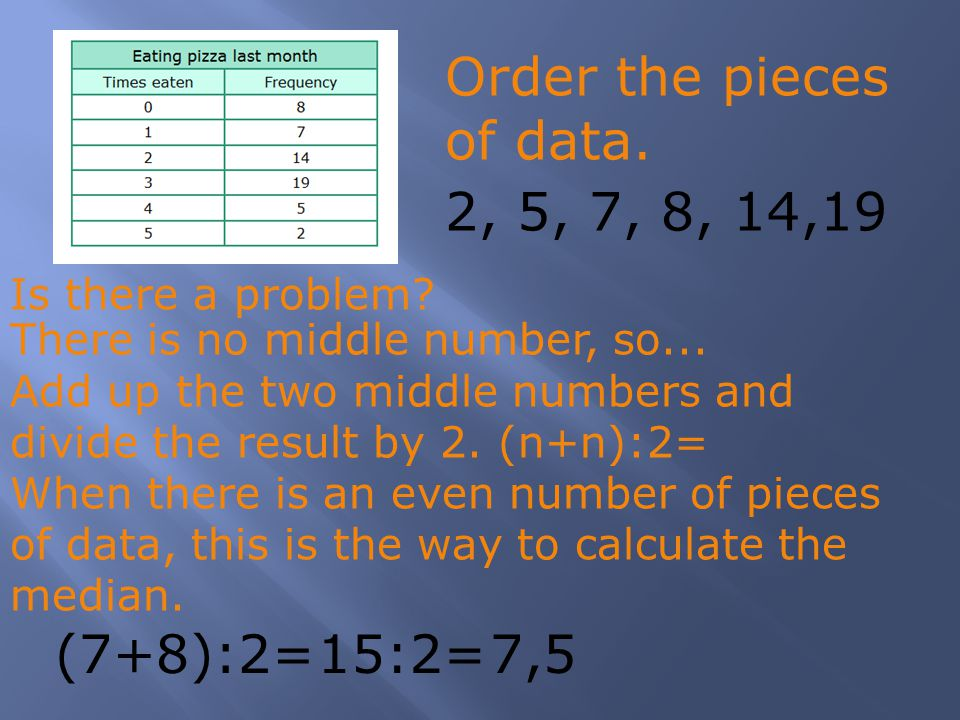 Is there a problem? 2, 5, 7, 8, 14,19 (7+8):2=15:2=7,5 There is no middle number, so... Add up the two middle numbers and divide the result by 2. (n+n