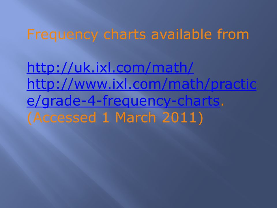 Frequency charts available from http://uk.ixl.com/math/ http://www.ixl.com/math/practic e/grade-4-frequency-chartshttp://www.ixl.com/math/practic e/gr