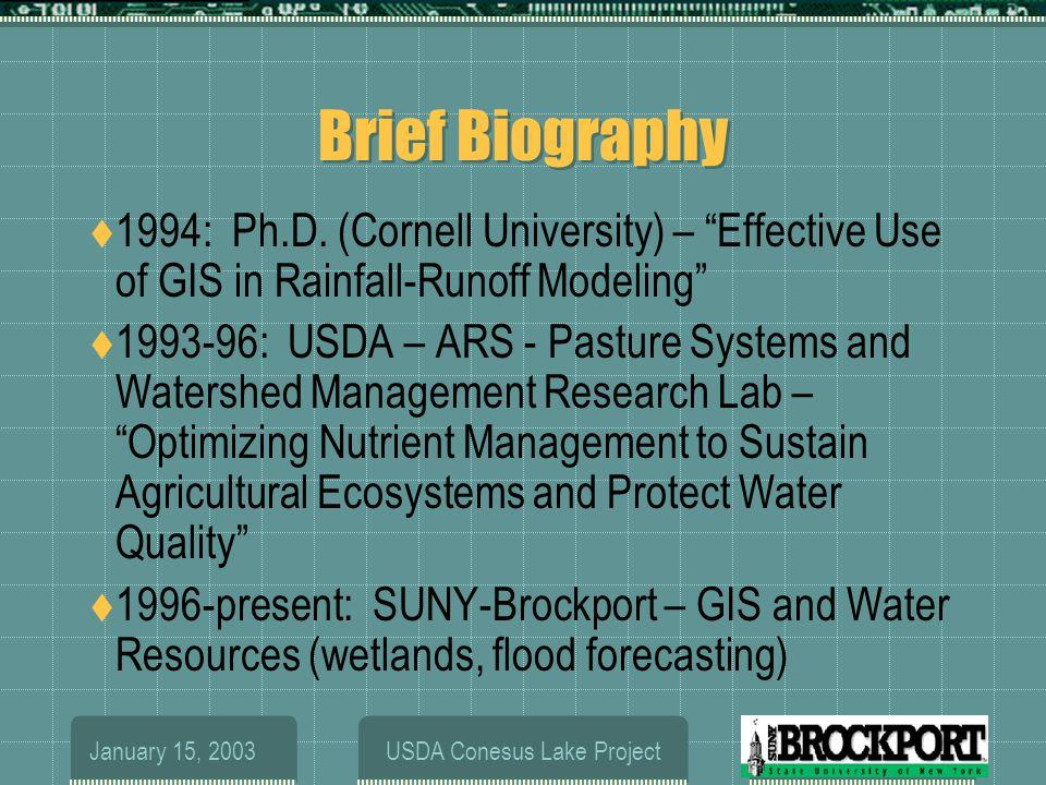 January 15, 2003USDA Conesus Lake Project