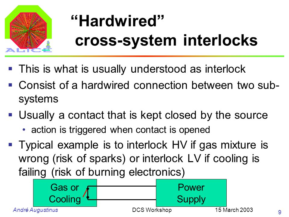 "André Augustinus 15 March 2003DCS Workshop 9 ""Hardwired"" cross-system interlocks  This is what is usually understood as interlock  Consist of a hard"