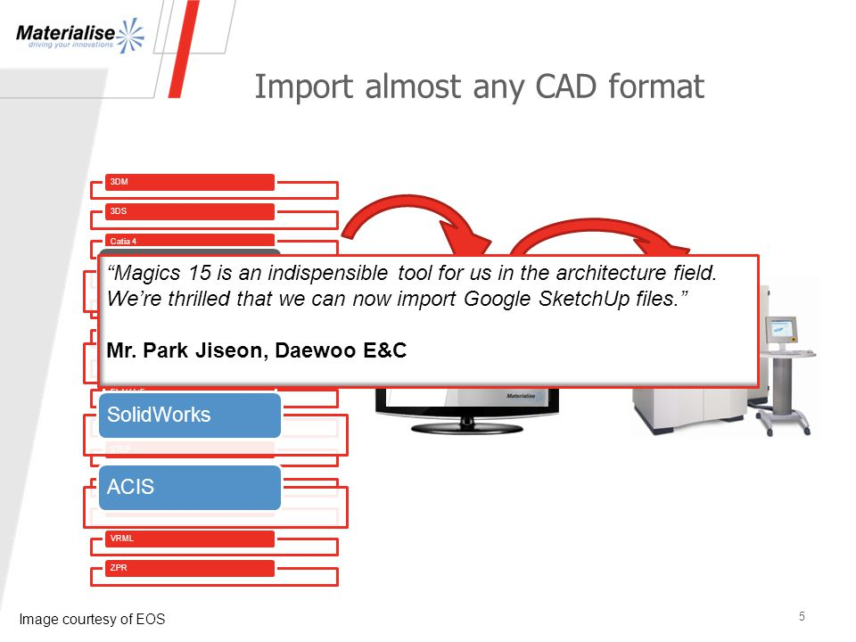 3DM3DSCatia 4Catia 5IGESDXFOBJPLY/ZCPPro/EngineerSTEPUnigraphics/ParasolidVDAFSVRMLZPR New in Magics 15 Google SketchUp 7.0 SolidWorksACIS Import almost any CAD format 5 Magics 15 is an indispensible tool for us in the architecture field.
