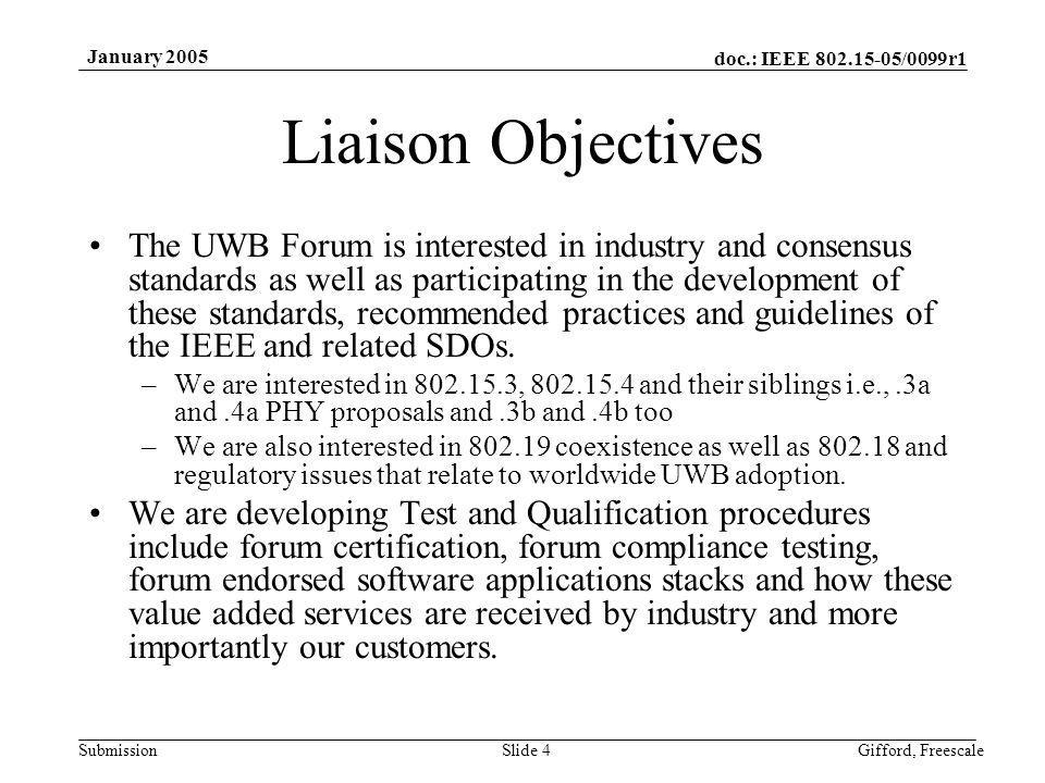 doc.: IEEE 802.15-05/0099r1 Submission January 2005 Gifford, FreescaleSlide 5 UWB Forum Welcome to Monterey!