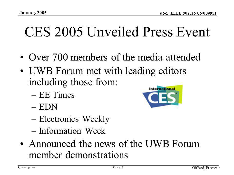doc.: IEEE 802.15-05/0099r1 Submission January 2005 Gifford, FreescaleSlide 8 Global Growth Established in 2004 China UWB Forum http://www.uwbforum.org.cn http://www.uwbforum.org.cn Korea UWB Forum 2005 Expansion Japan UWB Forum