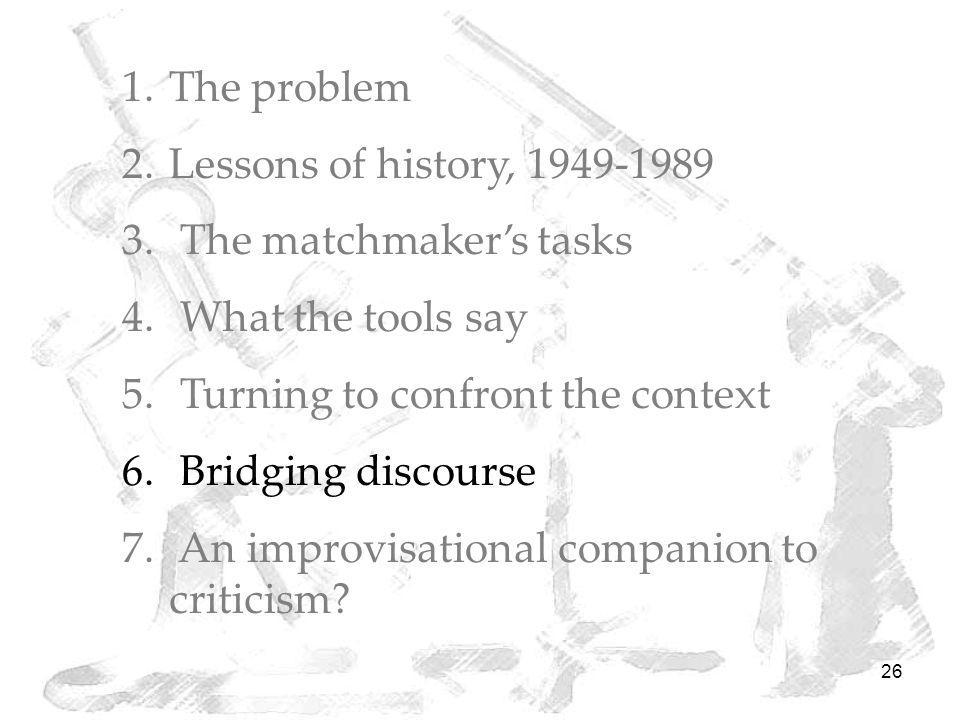 26 1.The problem 2.Lessons of history, 1949-1989 3. The matchmaker's tasks 4. What the tools say 5. Turning to confront the context 6. Bridging discou
