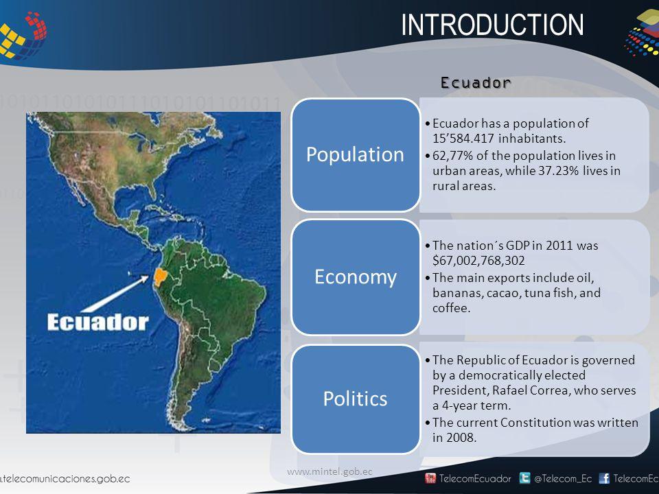 www.mintel.gob.ec Ecuador Ecuador has a population of 15'584.417 inhabitants. 62,77% of the population lives in urban areas, while 37.23% lives in rur