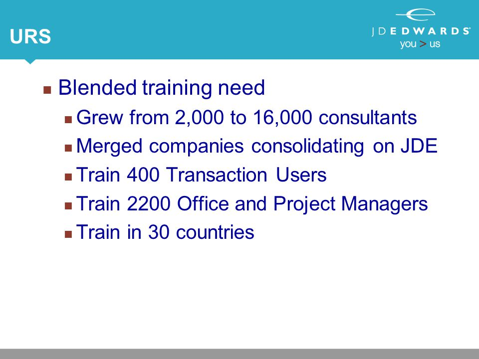 URS Blended training need Grew from 2,000 to 16,000 consultants Merged companies consolidating on JDE Train 400 Transaction Users Train 2200 Office and Project Managers Train in 30 countries