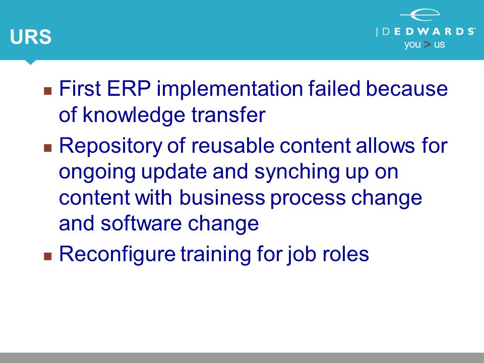 URS First ERP implementation failed because of knowledge transfer Repository of reusable content allows for ongoing update and synching up on content