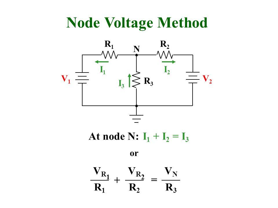 Node Voltage Method R1R1 R2R2 R3R3 V1V1 V2V2 I1I1 I2I2 I3I3 N At node N:I 1 + I 2 = I 3 or VR1VR1 R1R1 VR2VR2 R2R2 VNVN R3R3 + =