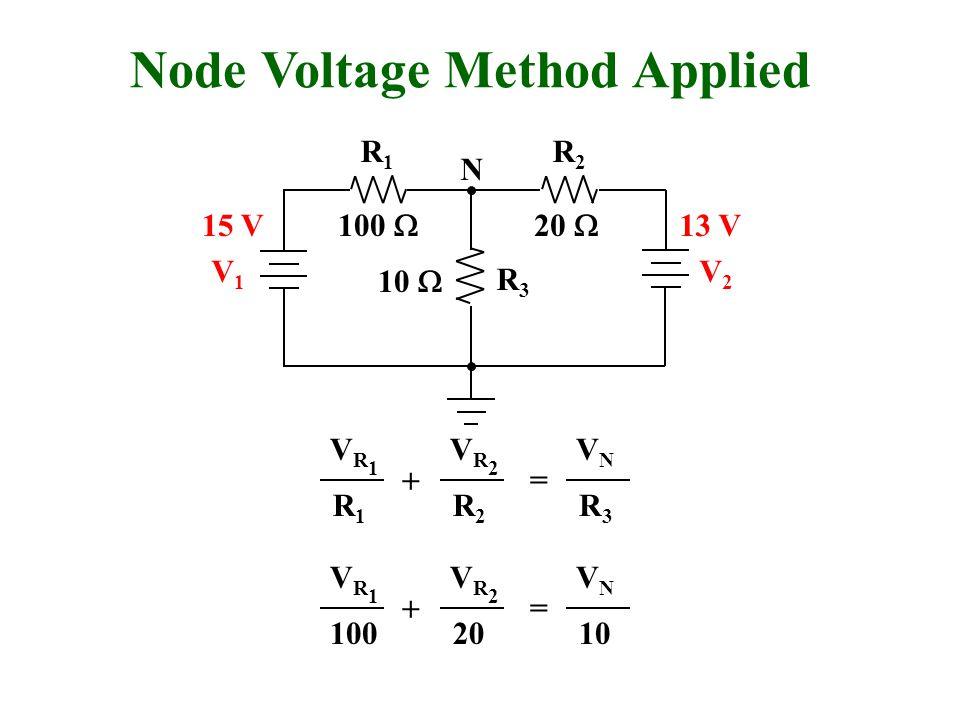 Node Voltage Method Applied R1R1 R2R2 R3R3 V1V1 V2V2 N VR1VR1 R1R1 VR2VR2 R2R2 VNVN R3R3 + = 100  20  15 V13 V VR1VR1 100 VR2VR2 20 VNVN 10 + = 10 