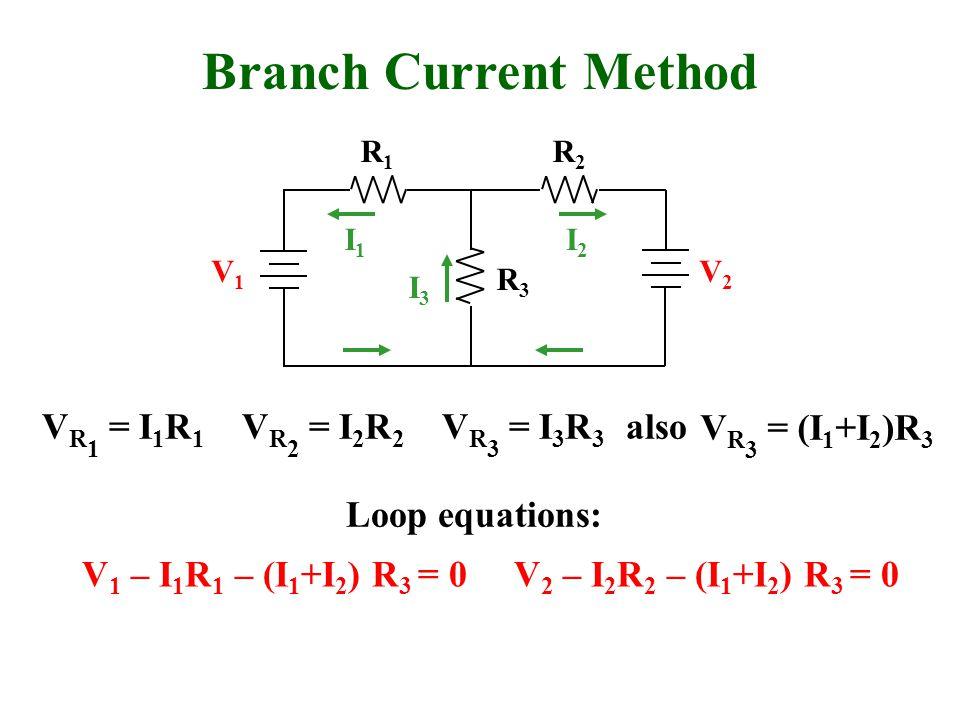 Branch Current Method R1R1 R2R2 R3R3 V1V1 V2V2 I1I1 I2I2 I3I3 V R 1 = I 1 R 1 V R 2 = I 2 R 2 V R 3 = (I 1 +I 2 )R 3 Loop equations: V 1 – I 1 R 1 – (I 1 +I 2 ) R 3 = 0 V R 3 = I 3 R 3 V 2 – I 2 R 2 – (I 1 +I 2 ) R 3 = 0 also