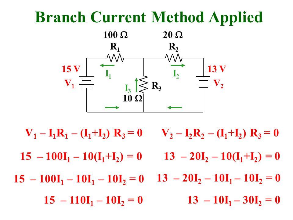 Branch Current Method Applied R1R1 R2R2 R3R3 V1V1 V2V2 I1I1 I2I2 I3I3 V 1 – I 1 R 1 – (I 1 +I 2 ) R 3 = 0V 2 – I 2 R 2 – (I 1 +I 2 ) R 3 = 0 100  20  10  15 V13 V 15 – 100I 1 – 10(I 1 +I 2 ) = 0 13 – 20I 2 – 10(I 1 +I 2 ) = 0 15 – 100I 1 – 10I 1 – 10I 2 = 0 13 – 20I 2 – 10I 1 – 10I 2 = 0 15 – 110I 1 – 10I 2 = 0 13 – 10I 1 – 30I 2 = 0