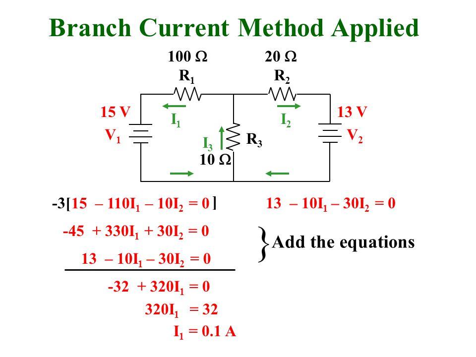 Branch Current Method Applied R1R1 R2R2 R3R3 V1V1 V2V2 I1I1 I2I2 I3I3 100  20  10  15 V13 V 15 – 110I 1 – 10I 2 = 0 13 – 10I 1 – 30I 2 = 0 -45 + 330I 1 + 30I 2 = 0 -32 + 320I 1 = 0 320I 1 = 32 I 1 = 0.1 A 13 – 10I 1 – 30I 2 = 0 } Add the equations -3[ ]