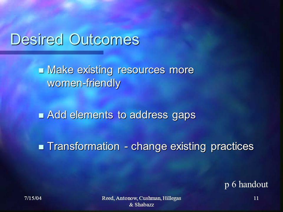 7/15/04Reed, Antonow, Cushman, Hillegas & Shabazz 11 Desired Outcomes Make existing resources more women-friendly Make existing resources more women-friendly Add elements to address gaps Add elements to address gaps Transformation - change existing practices Transformation - change existing practices p 6 handout