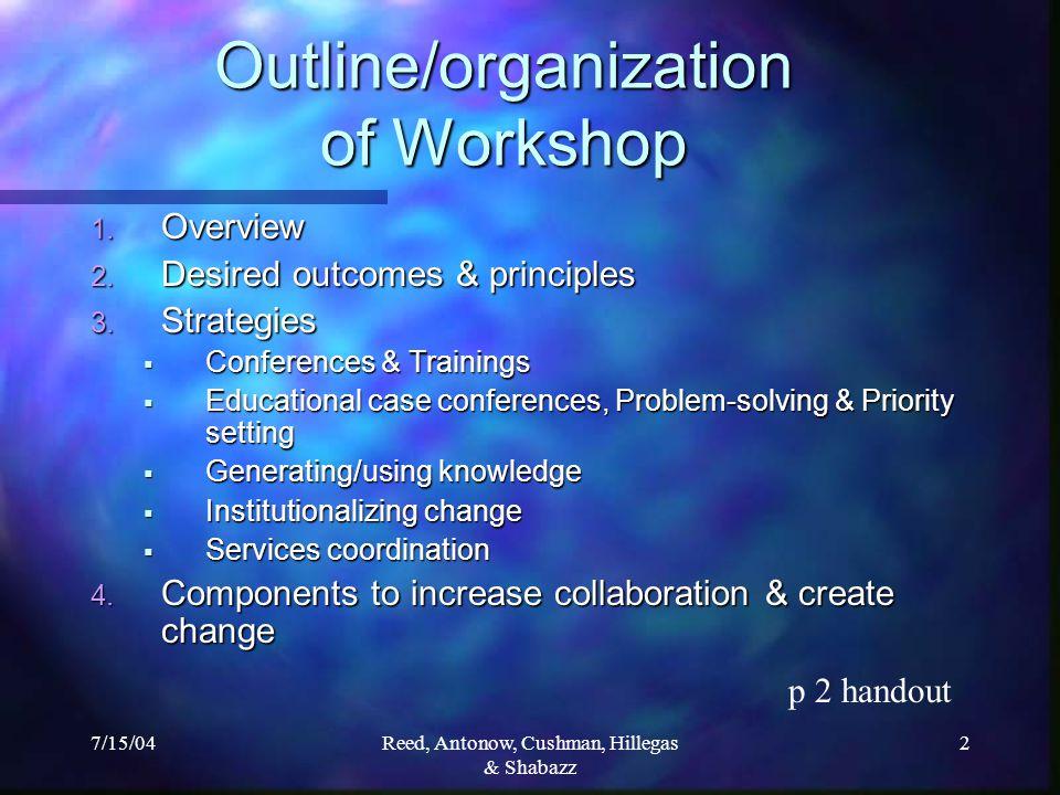 7/15/04Reed, Antonow, Cushman, Hillegas & Shabazz 2 Outline/organization of Workshop 1.