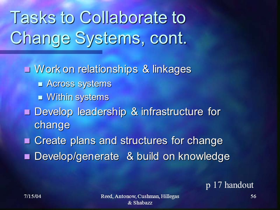 7/15/04Reed, Antonow, Cushman, Hillegas & Shabazz 56 Tasks to Collaborate to Change Systems, cont.
