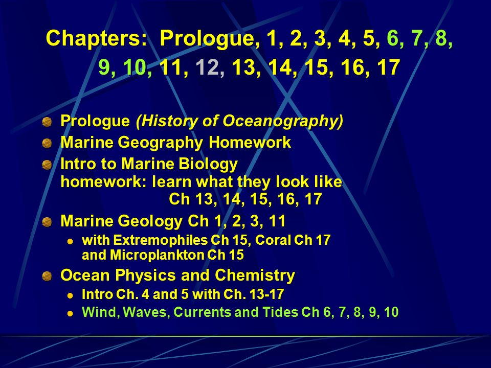 Chapters: Prologue, 1, 2, 3, 4, 5, 6, 7, 8, 9, 10, 11, 12, 13, 14, 15, 16, 17 Prologue (History of Oceanography) Marine Geography Homework Intro to Ma