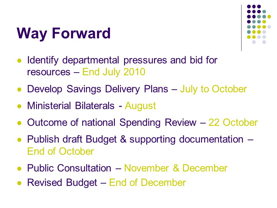 Way Forward Identify departmental pressures and bid for resources – End July 2010 Develop Savings Delivery Plans – July to October Ministerial Bilaterals - August Outcome of national Spending Review – 22 October Publish draft Budget & supporting documentation – End of October Public Consultation – November & December Revised Budget – End of December