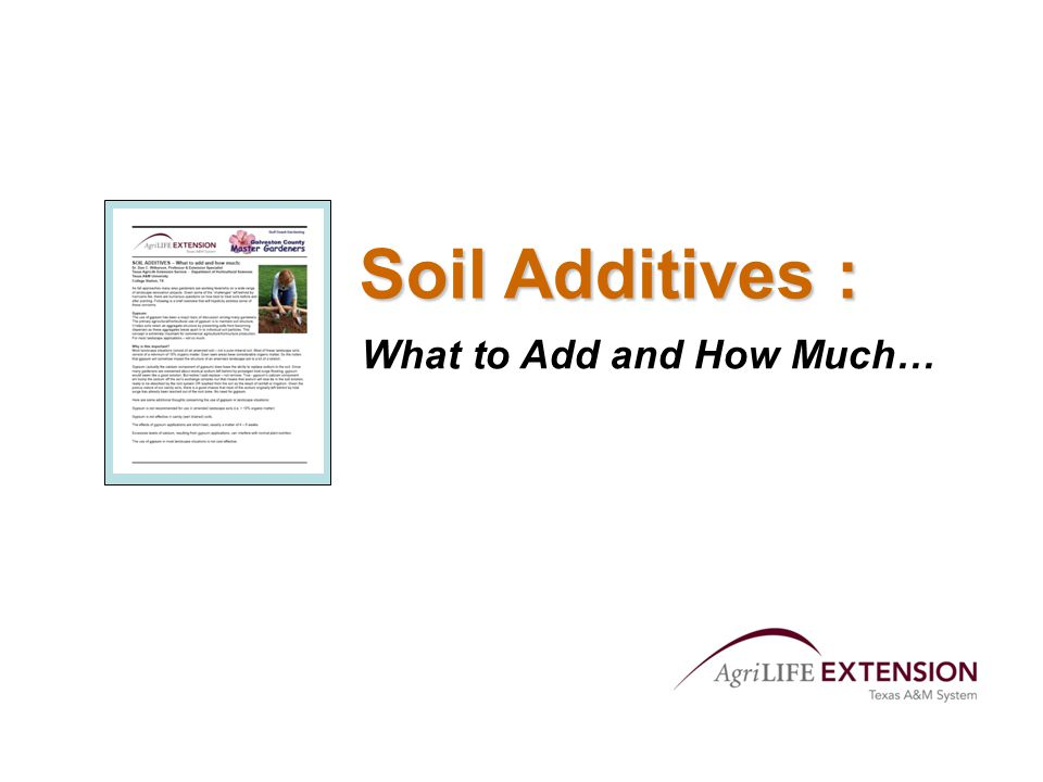 Soil Additives : What to Add and How Much…