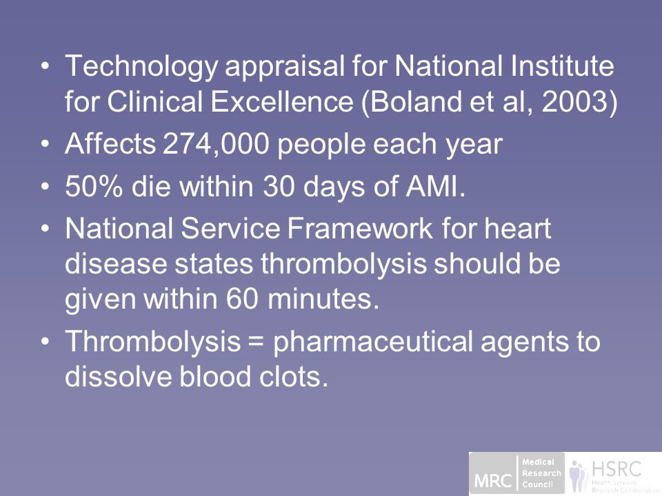 Technology appraisal for National Institute for Clinical Excellence (Boland et al, 2003) Affects 274,000 people each year 50% die within 30 days of AMI.