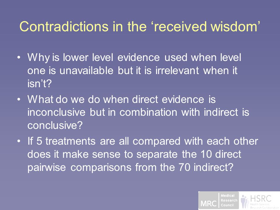 Contradictions in the 'received wisdom' Why is lower level evidence used when level one is unavailable but it is irrelevant when it isn't.