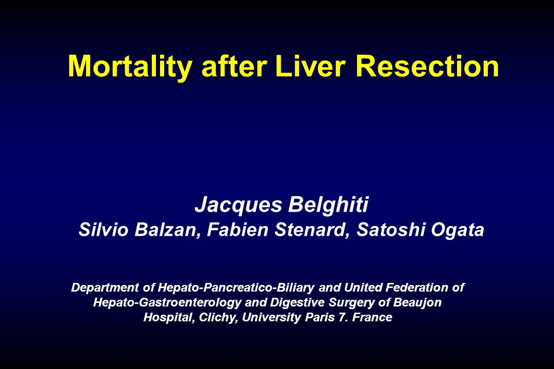 427 Resection of HCC: 1990 - 2003 Normal Chronic Liver Liver Disease Mortality1.2%7.7% Bleeding2%8% Ascites15%45% Jaundice 4%12% Infection 15%25% Renal failure0%8% Liver Failure0.5%6% Absence or insufficient liver regeneration
