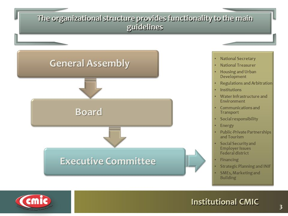 Institutional CMIC The organizational structure provides functionality to the main guidelines General Assembly BoardBoard Executive Committee National