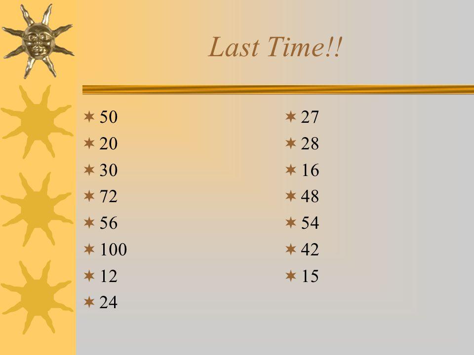 Last Time!!  50  20  30  72  56  100  12  24  27  28  16  48  54  42  15