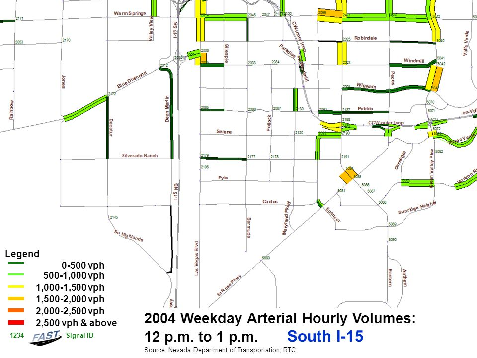 2004 Weekday Arterial Hourly Volumes: 12 p.m. to 1 p.m.