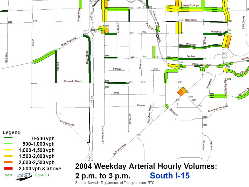 2004 Weekday Arterial Hourly Volumes: 2 p.m. to 3 p.m. South I-15 Source: Nevada Department of Transportation, RTC Legend 0-500 vph 500-1,000 vph 1,00