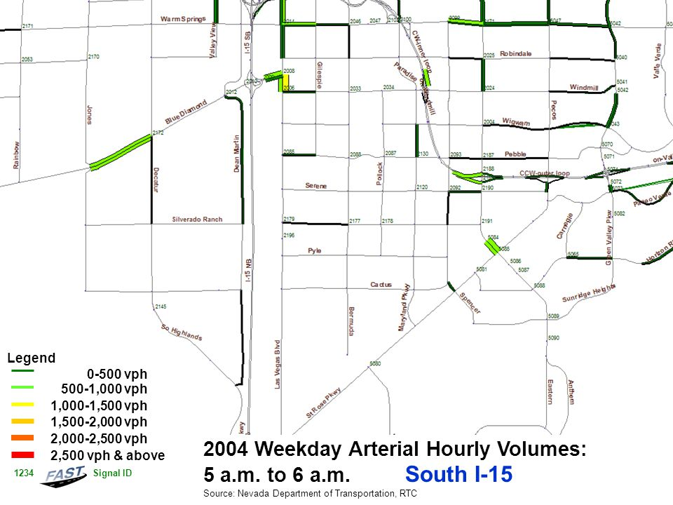 2004 Weekday Arterial Hourly Volumes: 5 a.m. to 6 a.m. South I-15 Source: Nevada Department of Transportation, RTC Legend 0-500 vph 500-1,000 vph 1,00