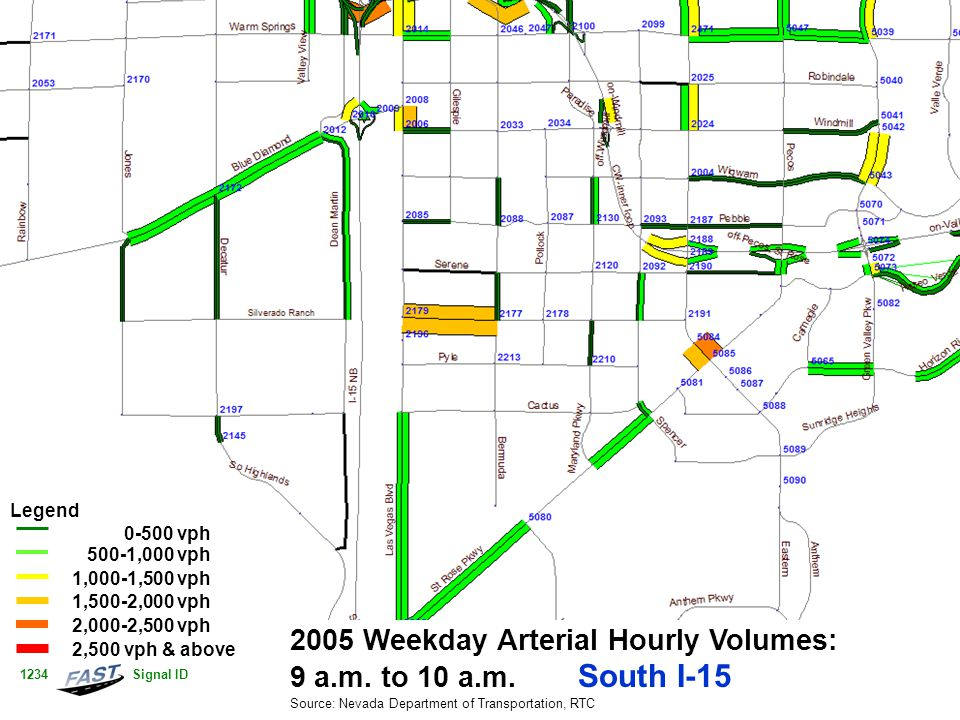 2005 Weekday Arterial Hourly Volumes: 9 a.m. to 10 a.m.