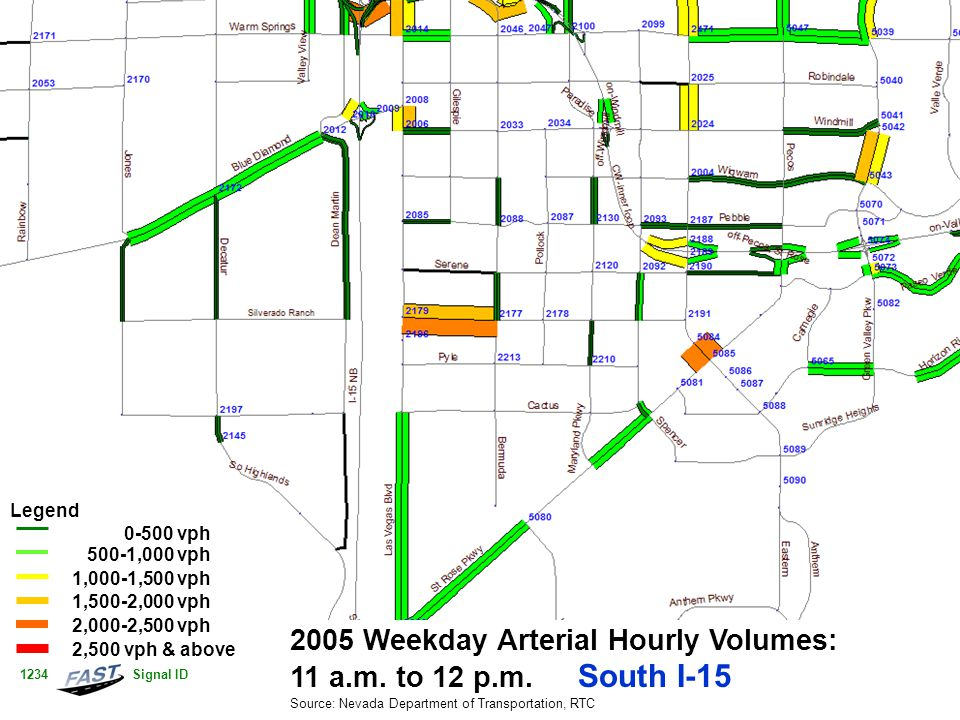 2005 Weekday Arterial Hourly Volumes: 11 a.m. to 12 p.m.