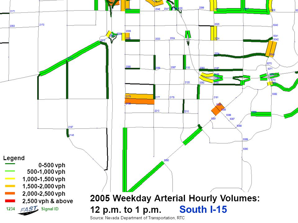 2005 Weekday Arterial Hourly Volumes: 12 p.m. to 1 p.m. South I-15 Source: Nevada Department of Transportation, RTC Legend 0-500 vph 500-1,000 vph 1,0