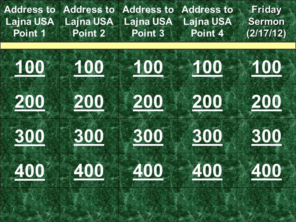 Address to Lajna USA Point 1 Address to Lajna USA Point 2 Address to Lajna USA Point 3 Address to Lajna USA Point 4 Friday Sermon (2/17/12) 100 200 300 400 200 300 400 300 200 400