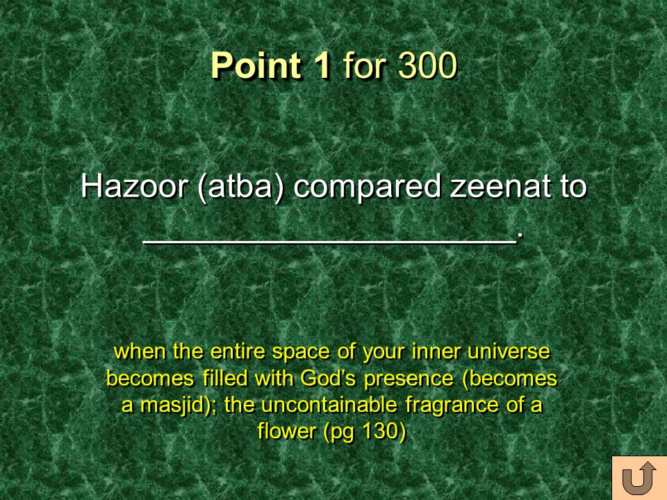 Point 1 for Point 1 for 300 Hazoor (atba) compared zeenat to ____________________.