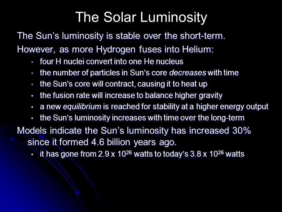 The Solar Luminosity The Sun's luminosity is stable over the short-term.