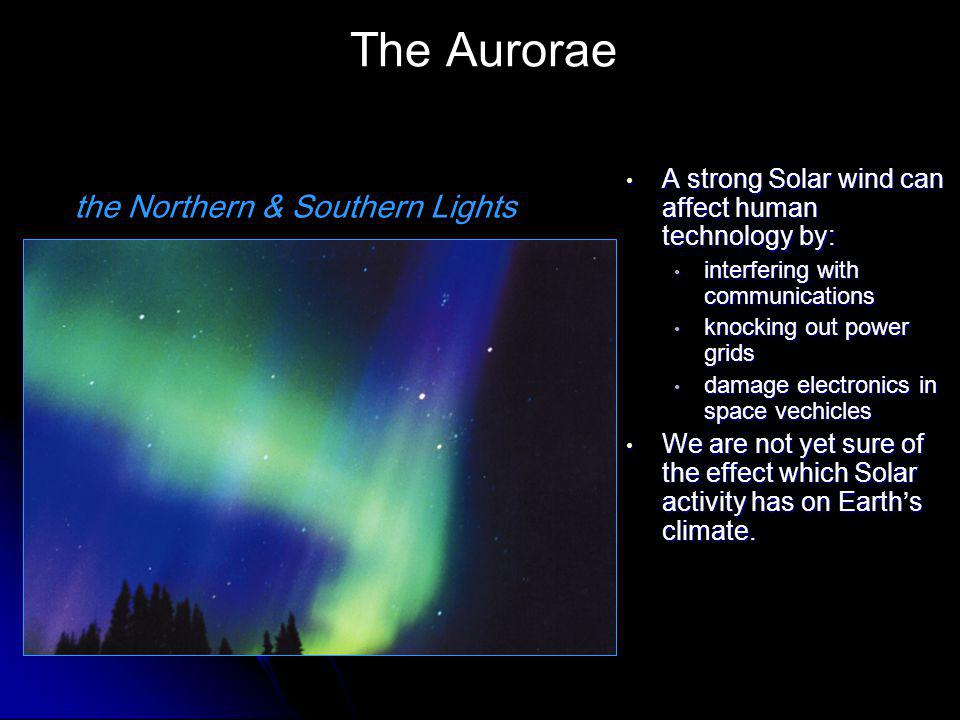The Aurorae A strong Solar wind can affect human technology by: A strong Solar wind can affect human technology by: interfering with communications knocking out power grids damage electronics in space vechicles We are not yet sure of the effect which Solar activity has on Earth's climate.