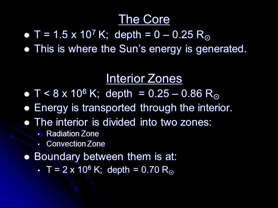 The Core The Core T = 1.5 x 10 7 K; depth = 0 – 0.25 R  T = 1.5 x 10 7 K; depth = 0 – 0.25 R  This is where the Sun's energy is generated.