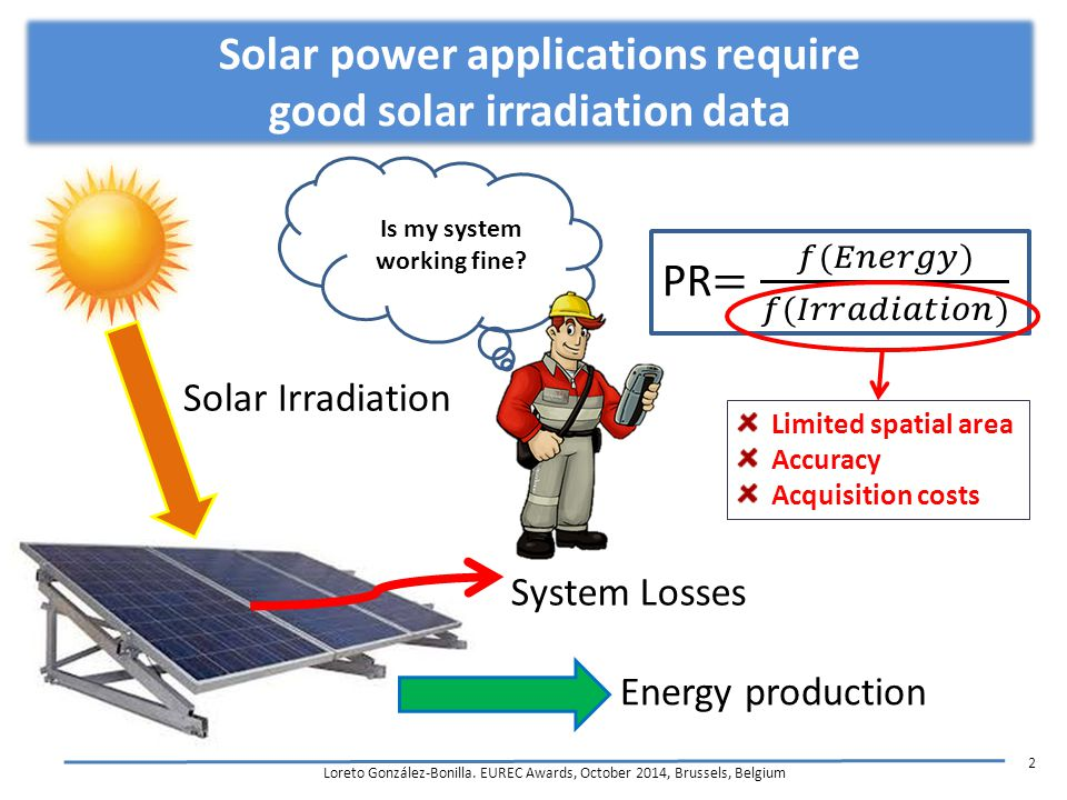 Is my system working fine? Solar power applications require good solar irradiation data Loreto González-Bonilla. EUREC Awards, October 2014, Brussels,